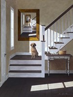 Droste and Dog On Stairs Fine Art Print
