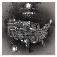 USA Map EBONY Fine Art Print