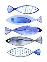 Retro Watercolour Fish Fine Art Print
