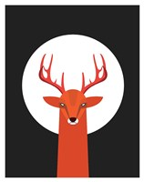 Deer & Moon Fine Art Print