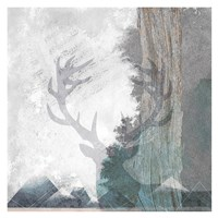 Deer and Mountains 1 Fine Art Print