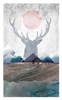 Deer and Mountains 2 Fine Art Print