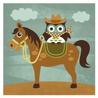 Cowboy Owl on Horse Fine Art Print