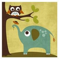 Owl and Elephant Fine Art Print