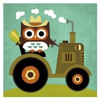 Owl on Tractor Fine Art Print