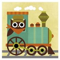 Owl Train Conductor Fine Art Print