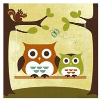 Two Owls on Swing Fine Art Print