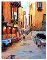 Street Cafe after Rain Fine Art Print