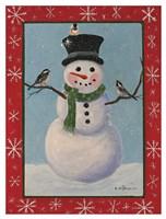 Snowman & Chickadees Fine Art Print