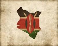 Map with Flag Overlay Kenya Fine Art Print
