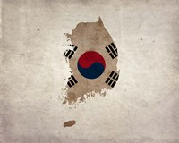 Map with Flag Overlay South Korea Fine Art Print