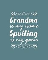 Grandma Is My Name Spoiling Is My Game - Blue Fine Art Print