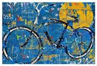 Blue Graffiti Bike Fine Art Print