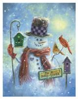 Birds Lover Snowman Fine Art Print
