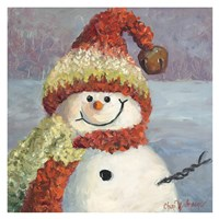Red Heart Snowman Fine Art Print