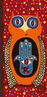 Owl With Evil Eye Hamsa Fine Art Print