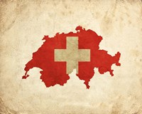 Map with Flag Overlay Switzerland Fine Art Print