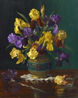Iris in Cloisonne Vase Fine Art Print