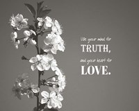 Use Your Mind For Truth - Flowers on Branch Grayscale Fine Art Print
