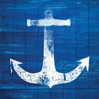 Blue and White Anchor Fine Art Print