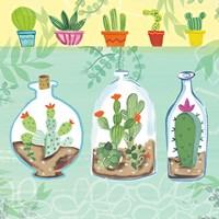 Cacti Garden I no Birds and Butterflies Fine Art Print