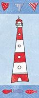 Coastal Lighthouse I on Blue Fine Art Print