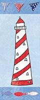 Coastal Lighthouse II on Blue Fine Art Print
