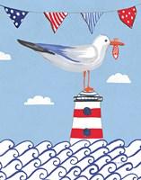 Coastal Bird I Flags on Blue Fine Art Print