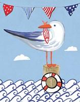 Coastal Bird II on Blue Fine Art Print