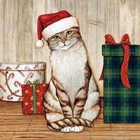 Christmas Kitty on Planked Wood Fine Art Print
