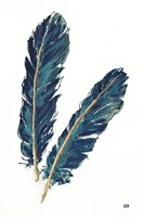 Gold Feathers IV Indigo Fine Art Print