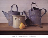 Watering Cans with Pear I Framed Print
