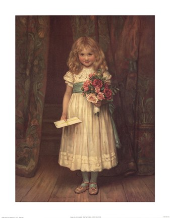Framed Young Girl with Flowers Print