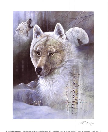 Cry Of The Wolf Fine Art Print By Ruane Manning At