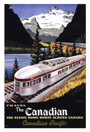 Framed Canadian Pacific Train 1955 Print