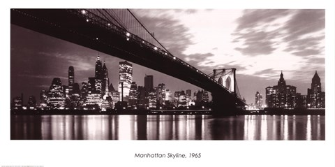 Framed Manhattan Skyline 1965 Print