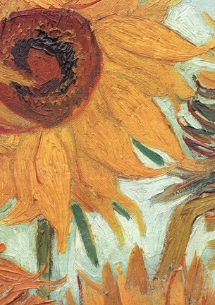 Framed Vase with Twelve Sunflowers, .c1888 (detail) Print