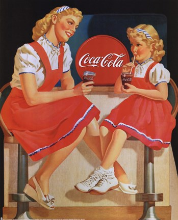 Coca Cola Young Girls Fine Art Print By Unknown At