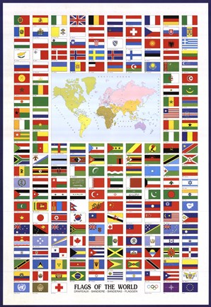 Framed Flags of the World Print
