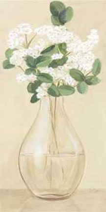Framed White Flowers in Bottle 1 Print