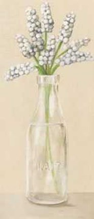 Framed Bottles White Flower 1 Print