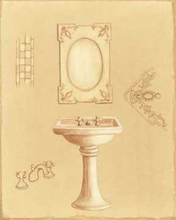 Framed Washbasin Color Coffee 2 Print