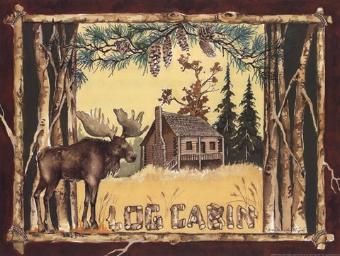 Framed Log Cabin Moose Print