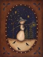 Snowman Lantern  Fine Art Print
