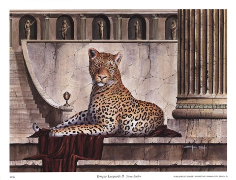 Framed Temple Leopards II Print