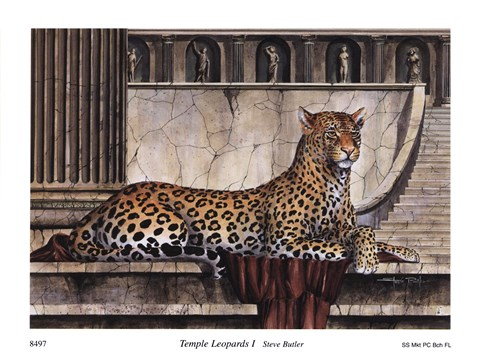 Framed Temple Leopards I Print