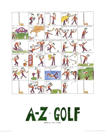 Framed A-Z of Golf Print