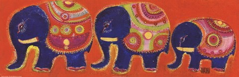 Framed Famille Elephants En Orange Print