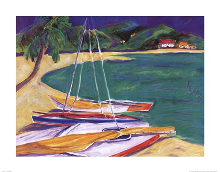 tropical sailboats i fine art print by joyce shelton at fulcrumgallery