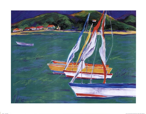 Framed Tropical Sailboats II Print